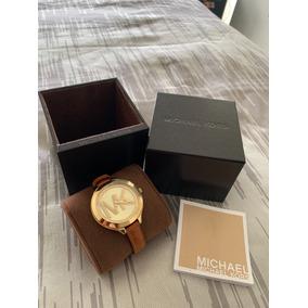 Reloj Mk Dama 100% Original Dorado Con Correa Marron