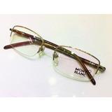 5db7bd606b760 Armação Oculos Grau Modelo Montblanc Mb89 Meio Aro Dourada