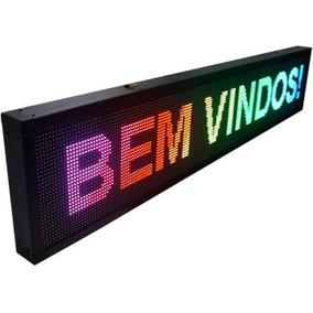 Letreiro 1m X 40cm Luminoso Painel De Led Rgb Outdoor Usb