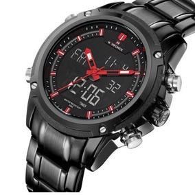 Relógio De Pulso Masculino Naviforce Aço Inoxidável Led 9050