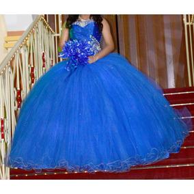 eff6ebfd6 Vestido Quinceañera Xv Años Azul 3 Piezas Talla 7