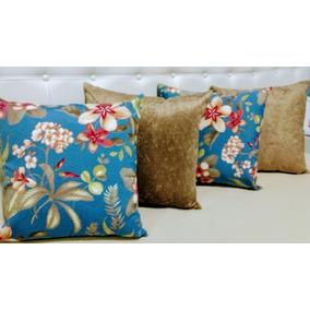 07e632807 Kit 6 Almofadas Decorativas Floral Azul Sued Bege 45 Cm