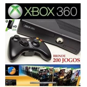 Xbox 360 Slim + Hd 320gb + Controle + Freestyle 200 Jogos