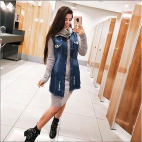 Colete Maxi Jeans Comprido Blusa Sem Manga Roupas Femininas