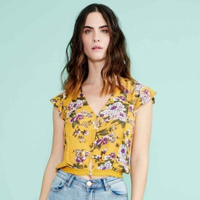 Blusa Casual Holly Land Mostaza Flores 184607 Dama19 D