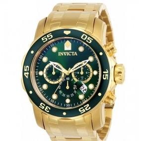 Relógio Original Invicta Pro Diver 0075 Verde Banhado A Ouro