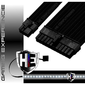 Kit Cabo Sleeve Gamer Mb 24 Pinos 8 Pin Pcie + Fita Led Top