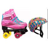 Patins Roller Classico Modelo Sou Luna C/led + Kit Protecao