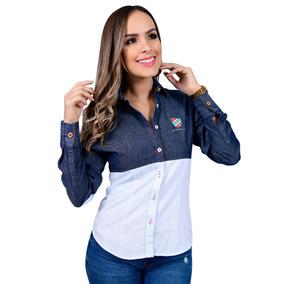 Camisa Porto Blanco Dama Blanca Mezclilla Y Algodon D-379
