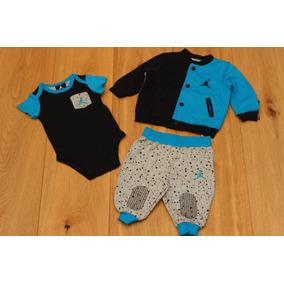 Conjunto 3 Piezas Para Bebe Jordan Chamarra Azul Gris 3-6 M