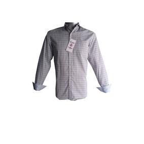 Camisa Casual M/ L Gris De Cuadros Y Puntos Amarillos