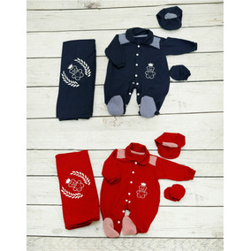 2 Kits Saída Maternidade Menino - 1 Vermelho E 1 Azul Escuro