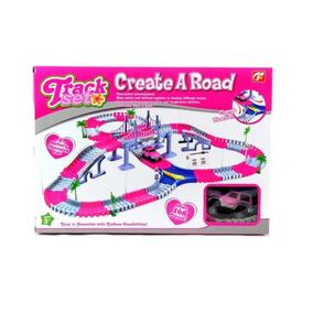 Pista Flexible Auto Create A Road Pink Track Tv 168 Piezas