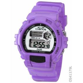 Relógio Feminino Cosmos Digital Os41379l Cronógrafo Roxo