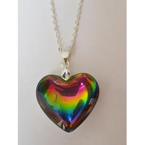 Collar Corazón Arcoiris