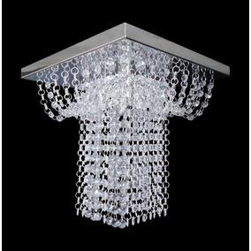 Lustre Cristal Acrílico Base Inox Espelhada Grande 30x30