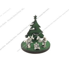 Mini Pesebre Navidad Pino Verde 5 Piezas Alpaca Souvenirs
