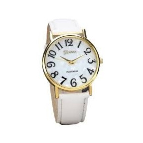 Relógio Feminino Branco Geneva Luxo Quartz Barato