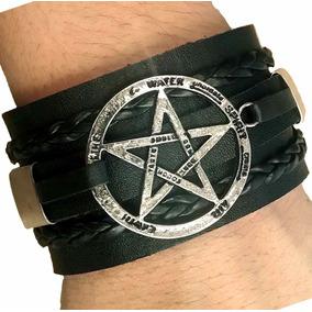 Pulseira Bracelete Masculina De Couro Estrela Pentagrama