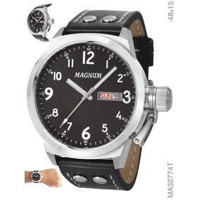 Relógio Masculino Magnum Prata Pulseira Em Couro Ma32774t