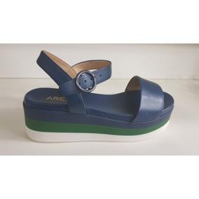 Sandália Salto Medio Couros/azulados Atanado Indigo - Arezzo