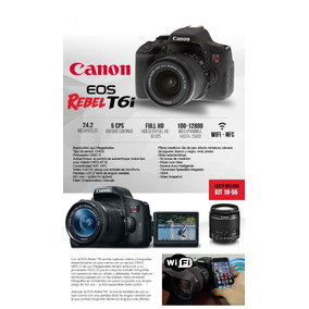 Canon T6i Dslr+kit Lente 18-55 Is Stm24.2mp 12x Sin Interes