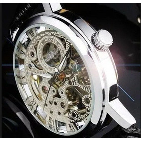 e3d778d6406 Relógio Automático Mecânico Prata Winner Pulseira Couro Luxo