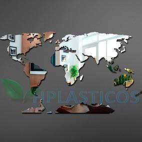 Espelho Decorativo Grande Mapa Do Mundo 118 Cm X 73 Cm