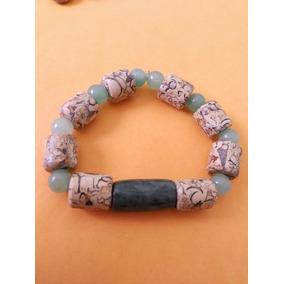 Pulsera Piedra Natural Jade Con Cuarzo Verde Original