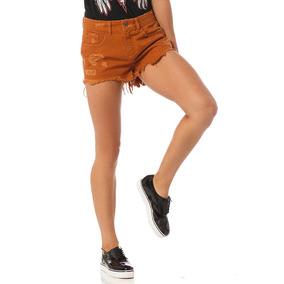 Shorts Fem Tradicional Colorido Puídos Sobreposto-sp6186