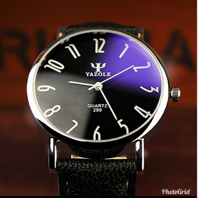 Yazole Moda Casual Homens Relógio De Vidro Azu