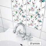Azulejos Adhesivos Cocina Baño Mosaico Flores Magnolias