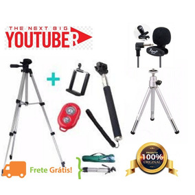 Tripé Celular Gopro Camera Profissional 1,20 + Kit Youtubers