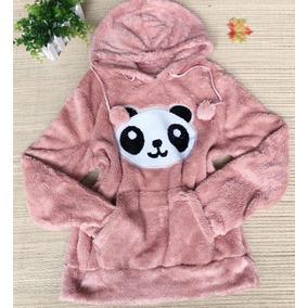 Blusa De Frio Casaco Feminina Pelinho Capuz Paris Panda Lisa