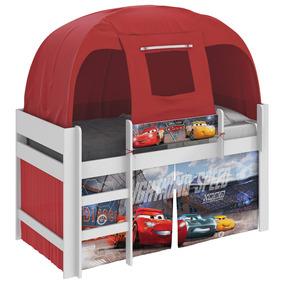 Cama Infantil Carros Disney Com Barraca Vermelha Pura Magia
