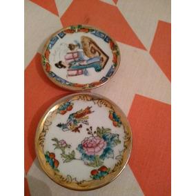 Mini Pratos De Porcelana Chinesa - Gueixa E Flores