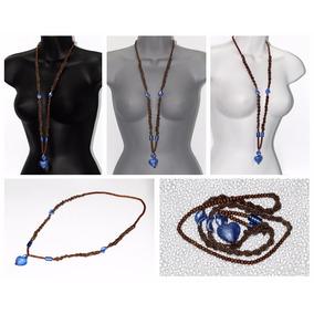 Collar De Piedra Murano Azul Corazón Ccpn498