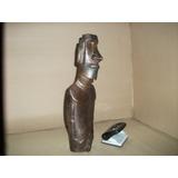 Moai Madera Bañado Cobre, Decoración, Regalo, Artesanía