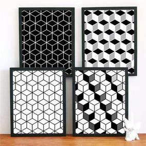 4 Posters Geometricos - 30x40 Cm - Fotográfico