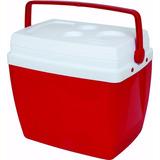 Caixa Térmica 34l Vermelha C/ Alça E Porta Copos Mor Praia