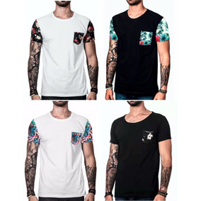 Kit Camiseta Masculina Swag Oversized Camisa Floral 4 Pçs