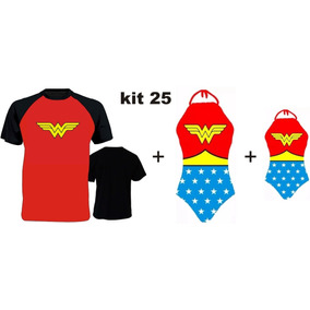 Kit Família Mulher Maravilha Camiseta + Body + Body Infantil