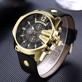 Relógio Masculino De Luxo Dourado Com Preto Pulseira Couro