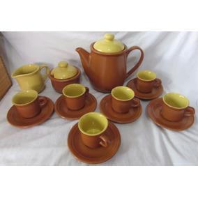 Jogo De Chá Em Cerâmica Vila Rica Com Baú De Madeira -a Ax