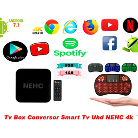 Tv Box Conversor Smart Tv 4k Nehc + Mini Teclado Bluetoo