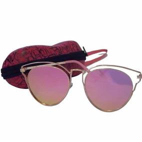 Óculos De Sol Cat Gatinho Rosa Dourado C  Bolsa E Flanela 012b7a2010