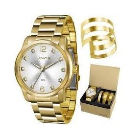 Relógio Lince Dourado Folheado Com Bracelete Lrg4391l