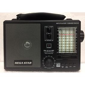 Rádio Portátil Mega 10 Faixas Retrô Bateria Bluetooth Usb Sd