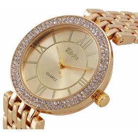 Relógio De Pulso Feminino Dourado Com Cristais