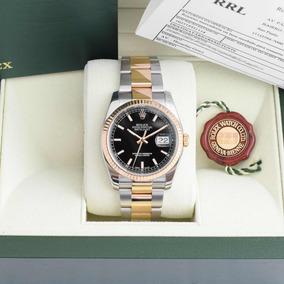 Rolex Datejust 36 Mm Preto Aço E Ouro 116233